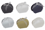 Pearlescent Scalloped Clam Wedding Favour Boxes - Choose Colour - Choose QTY
